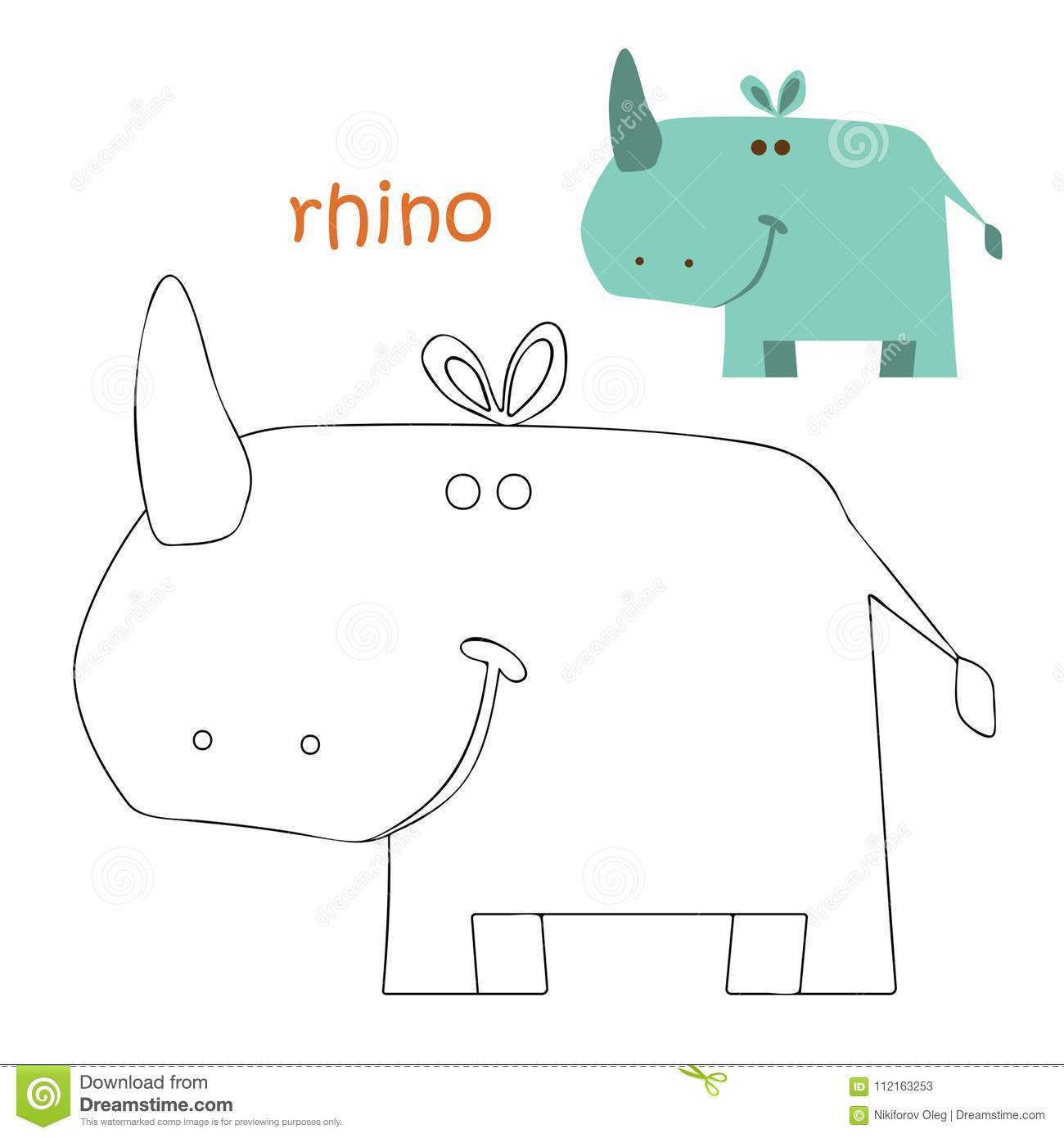 Kids coloring page - rhino stock vector. Illustration of scribble ...