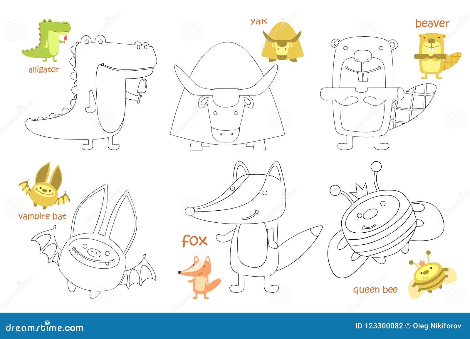 kids coloring page set kids coloring page coloring book animal doodle vector illustration