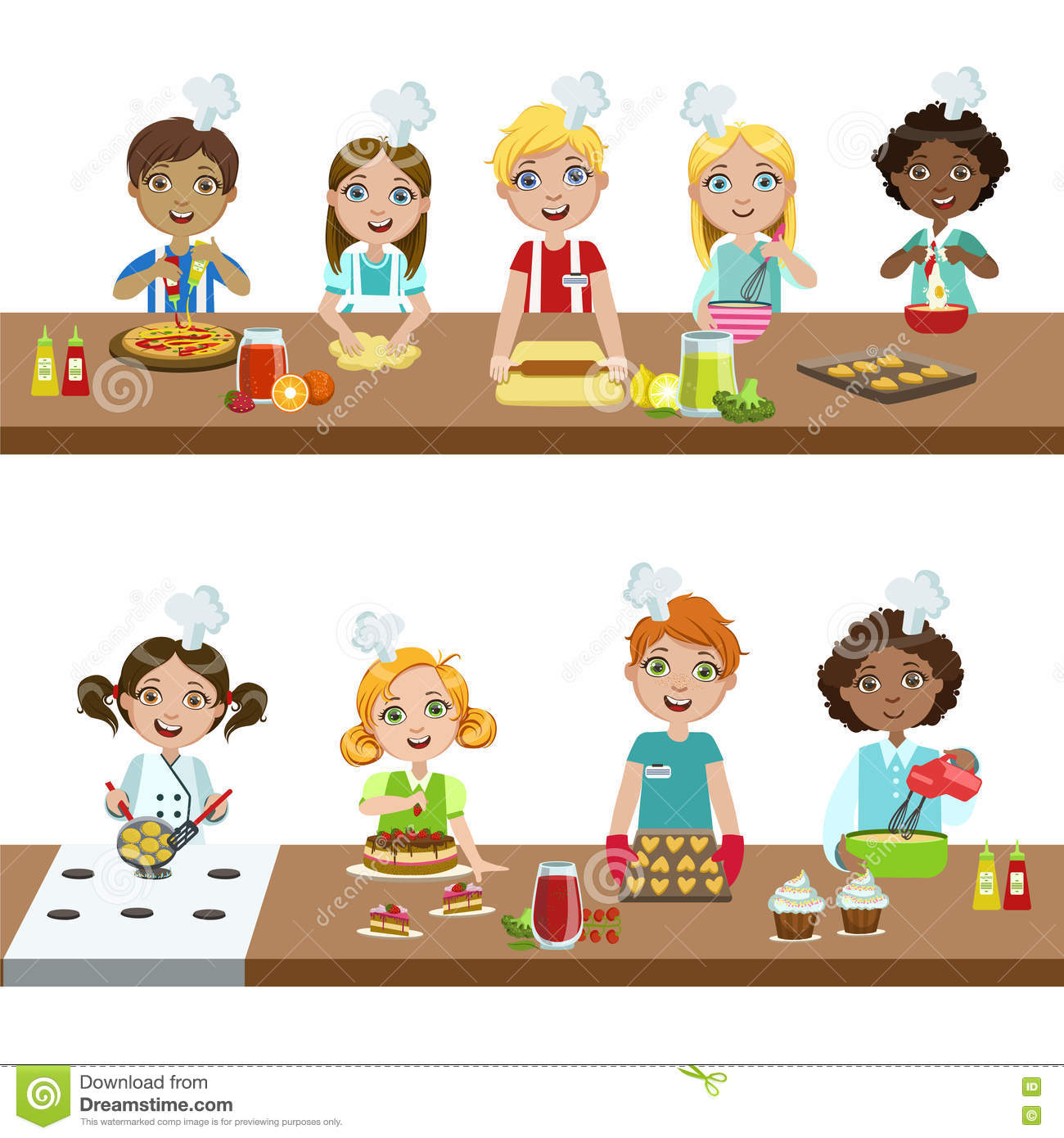 Kids In Cooking Class Stock Vector. Illustration Of