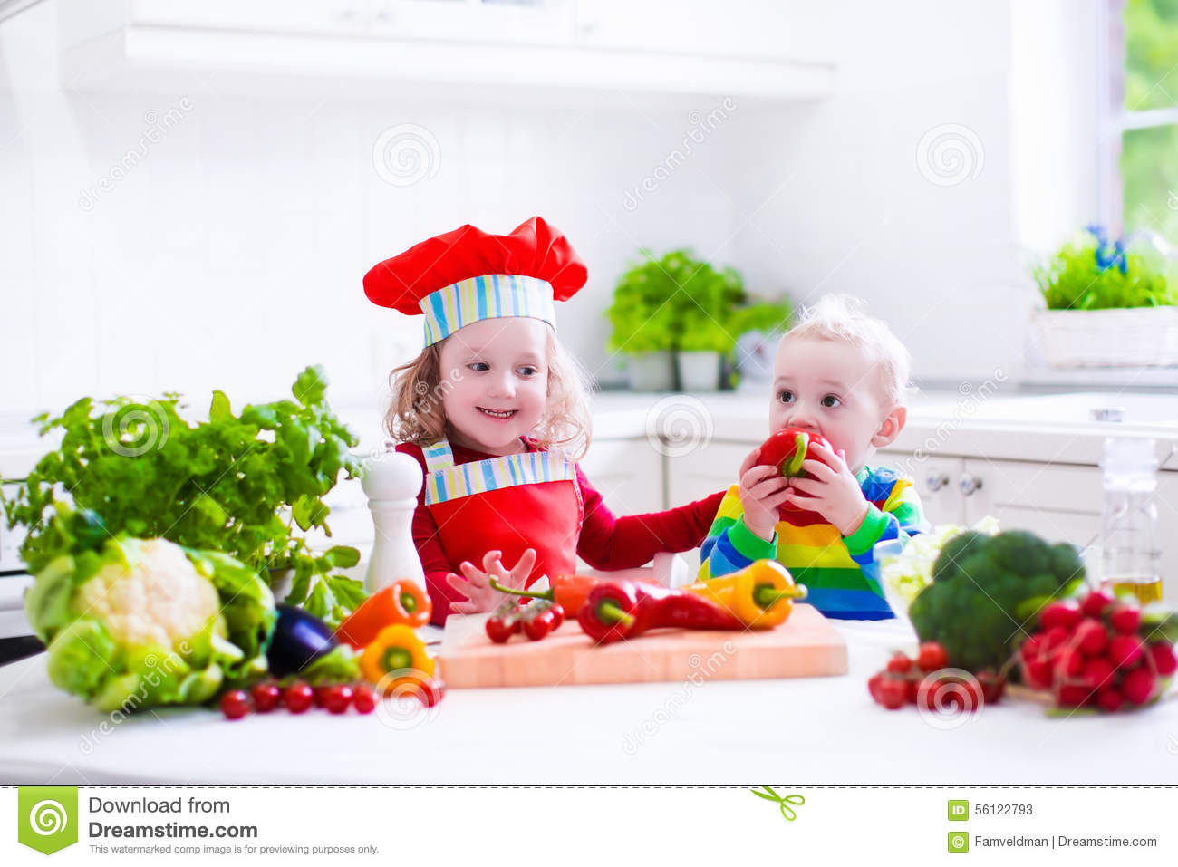 Kids Cooking Healthy Vegetarian Lunch Stock Image - Image ...