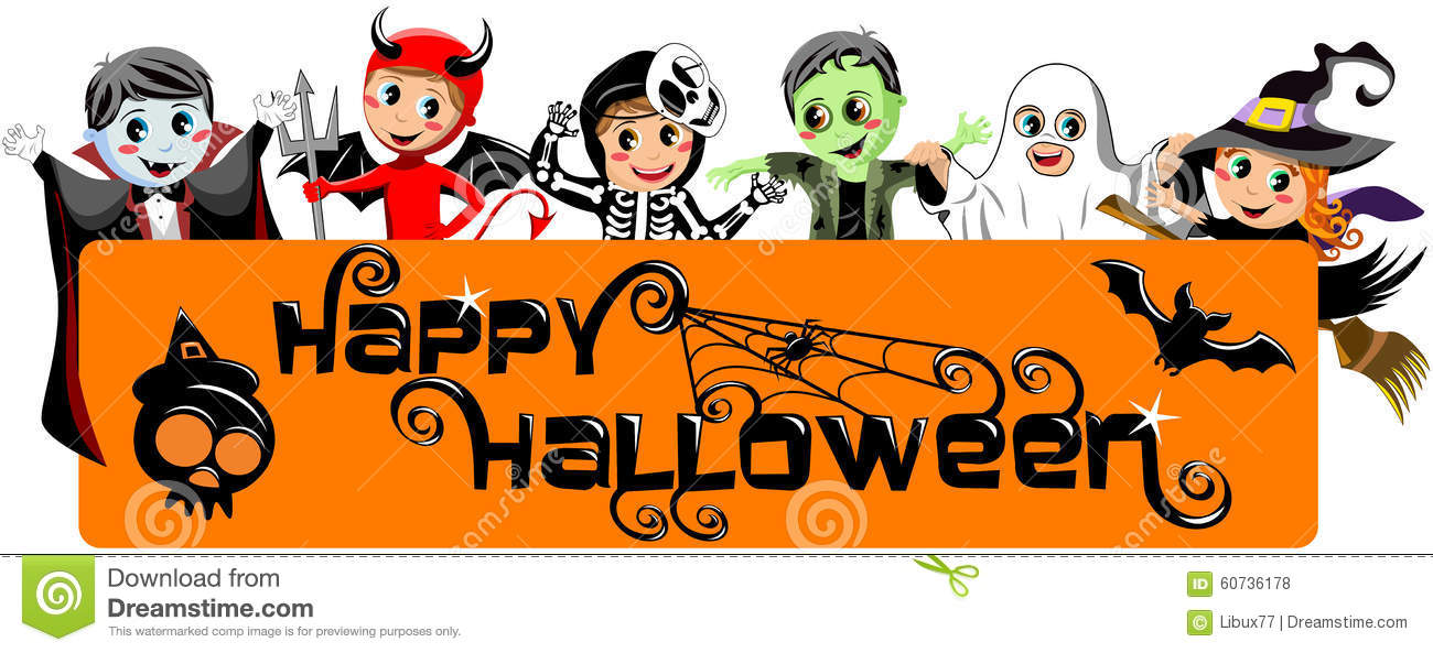 Kids in Halloween Costumes holding happy halloween horizontal banner .