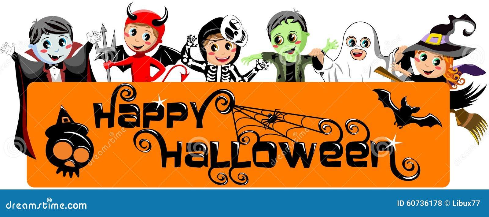 Kids Costume Happy Halloween Banner Stock Vector - Image: 60736178