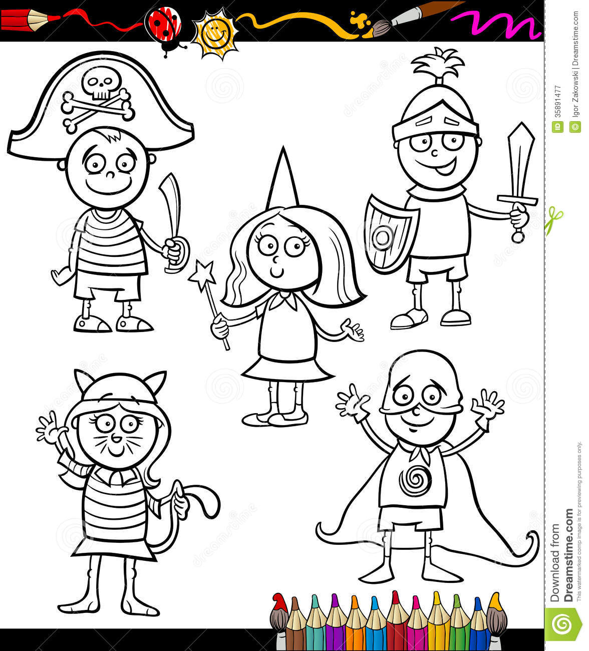 Kids In Costumes Set Coloring Page Stock Vector ...