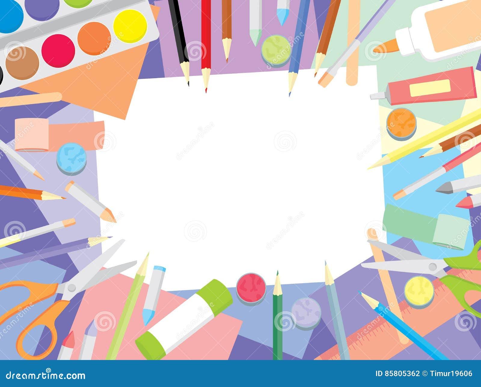 Kids Craft Supplies Stock Vector Illustration Of Kindergarten