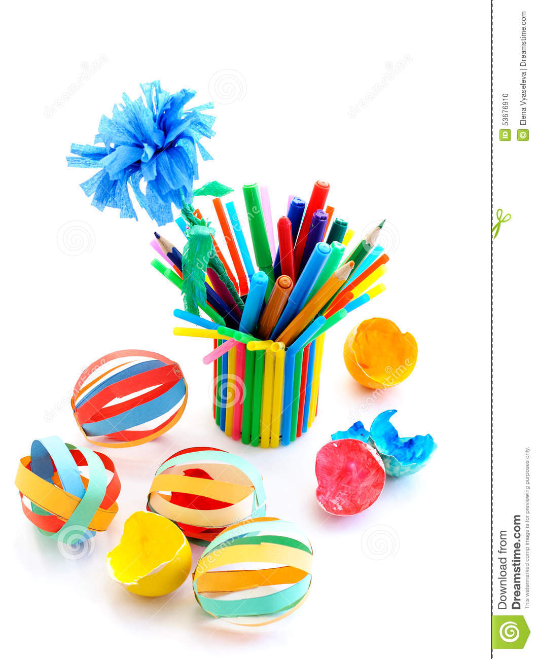 Kids crafts out of colored paper stock photo image 53676910 for Colour paper craft
