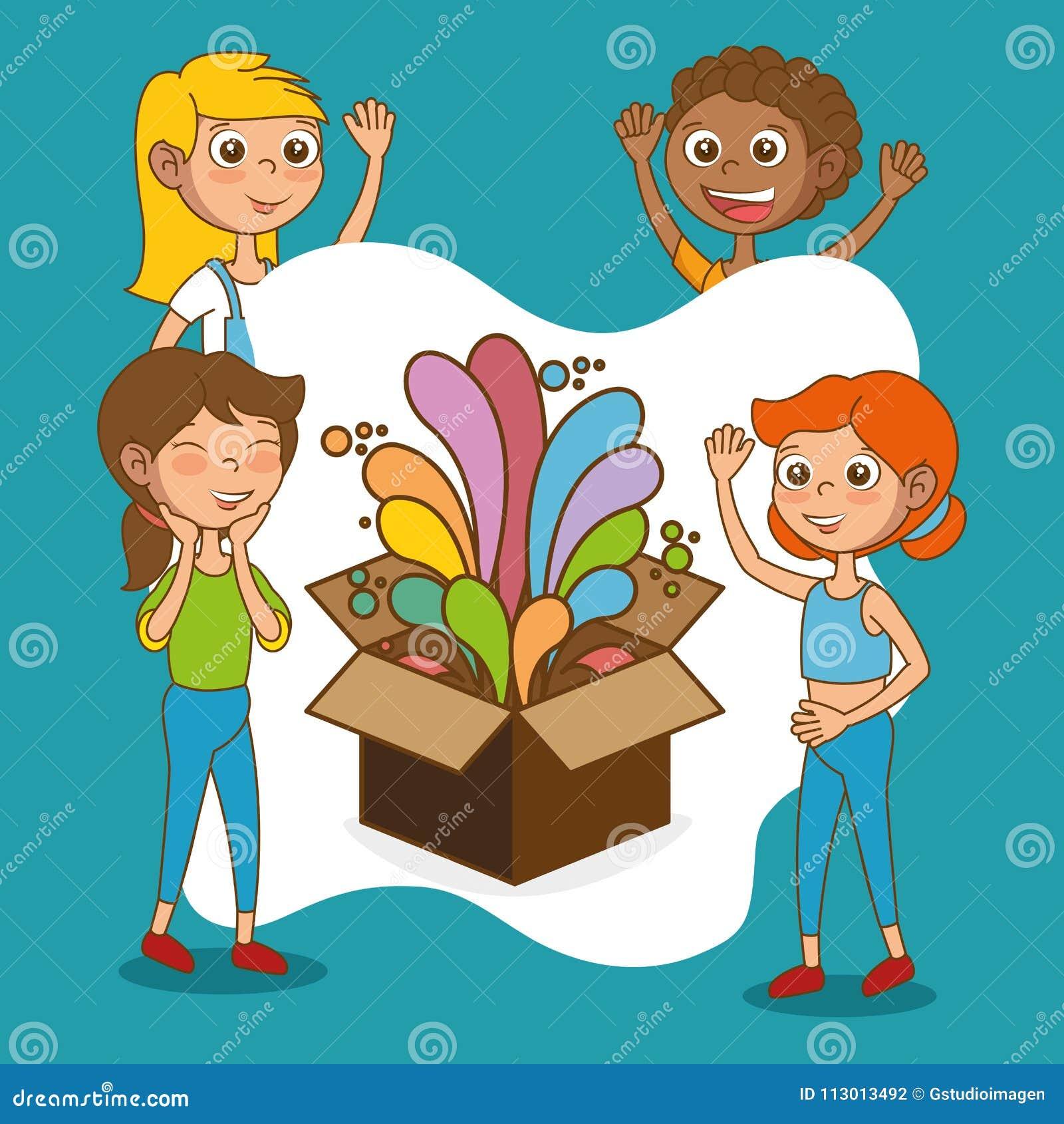 Kids With Creative Big Idea Stock Vector - Illustration of idea ...