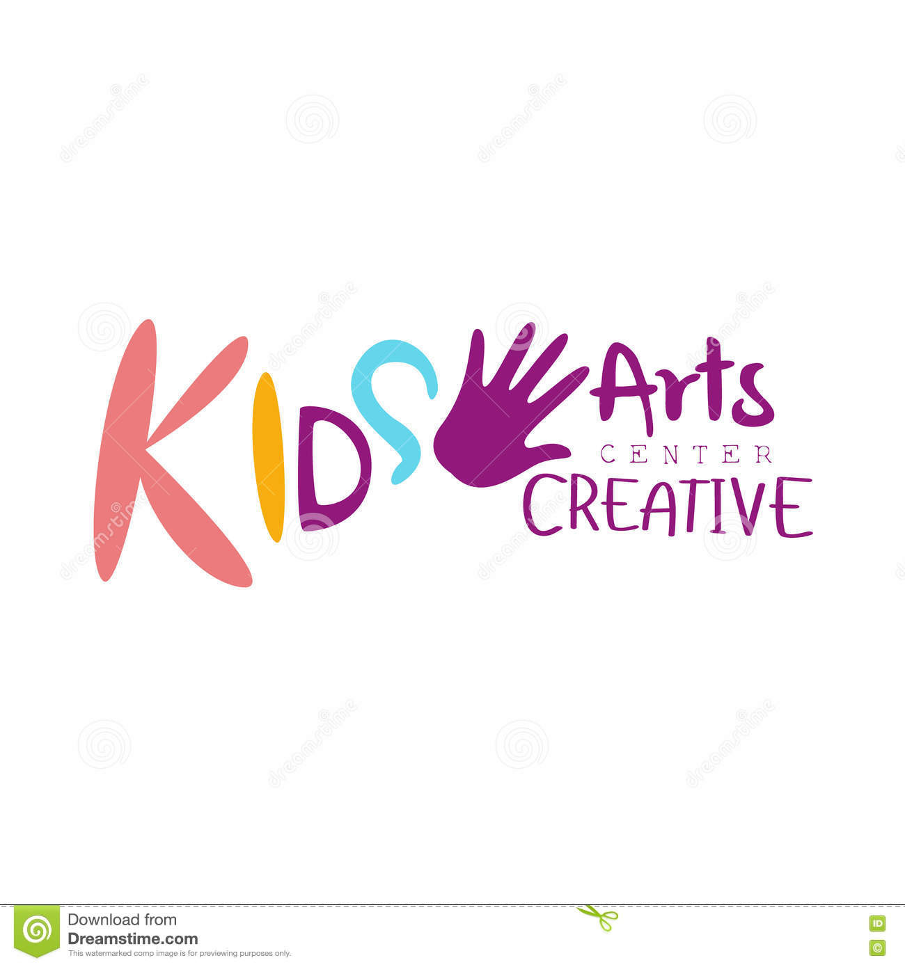 Kids Creative Class Template Promotional Logo With Child Hand Print, Symbols Of Art and Creativity