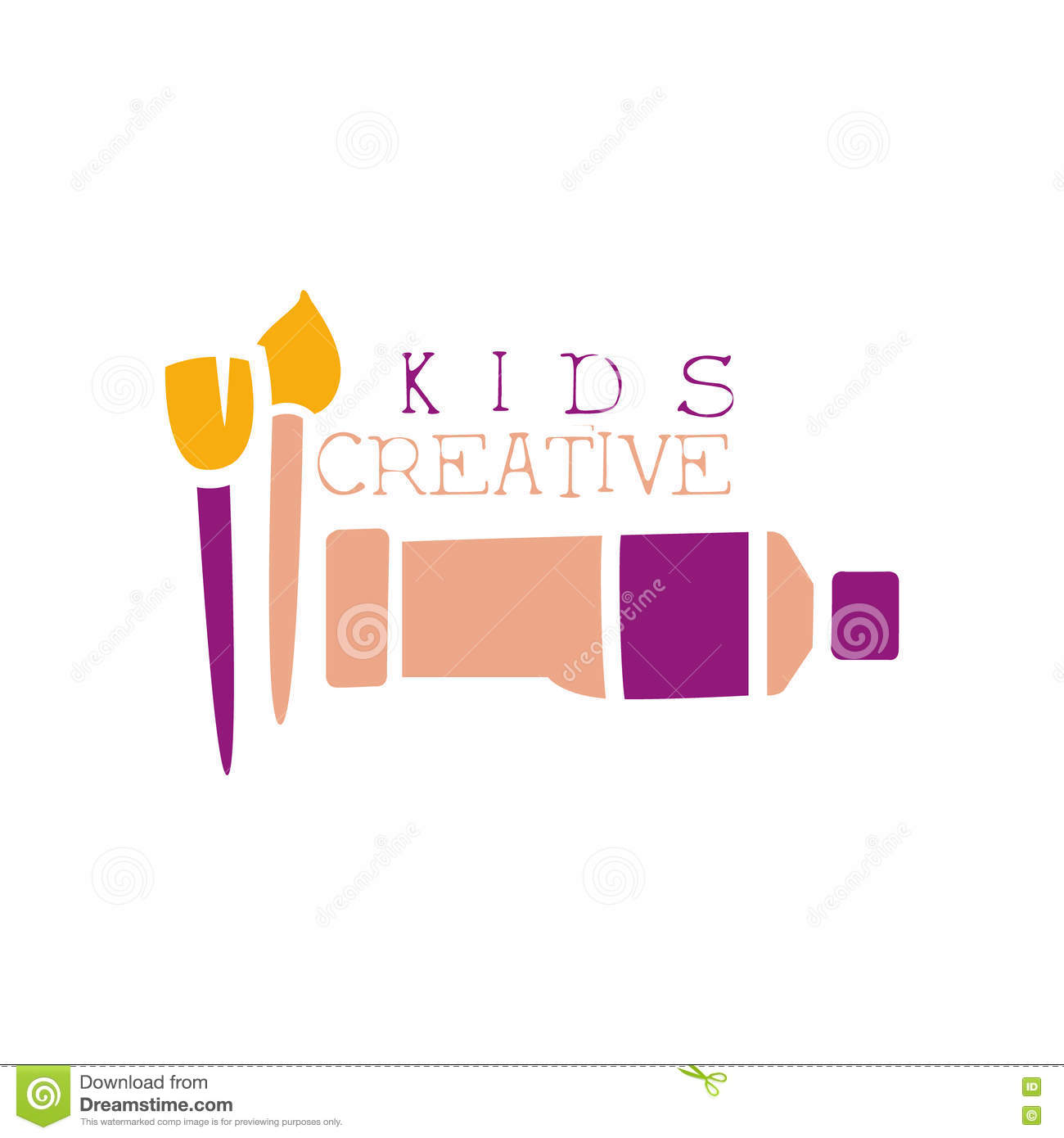 Kids creative class template promotional logo with oil paint tube royalty free stock photo buycottarizona
