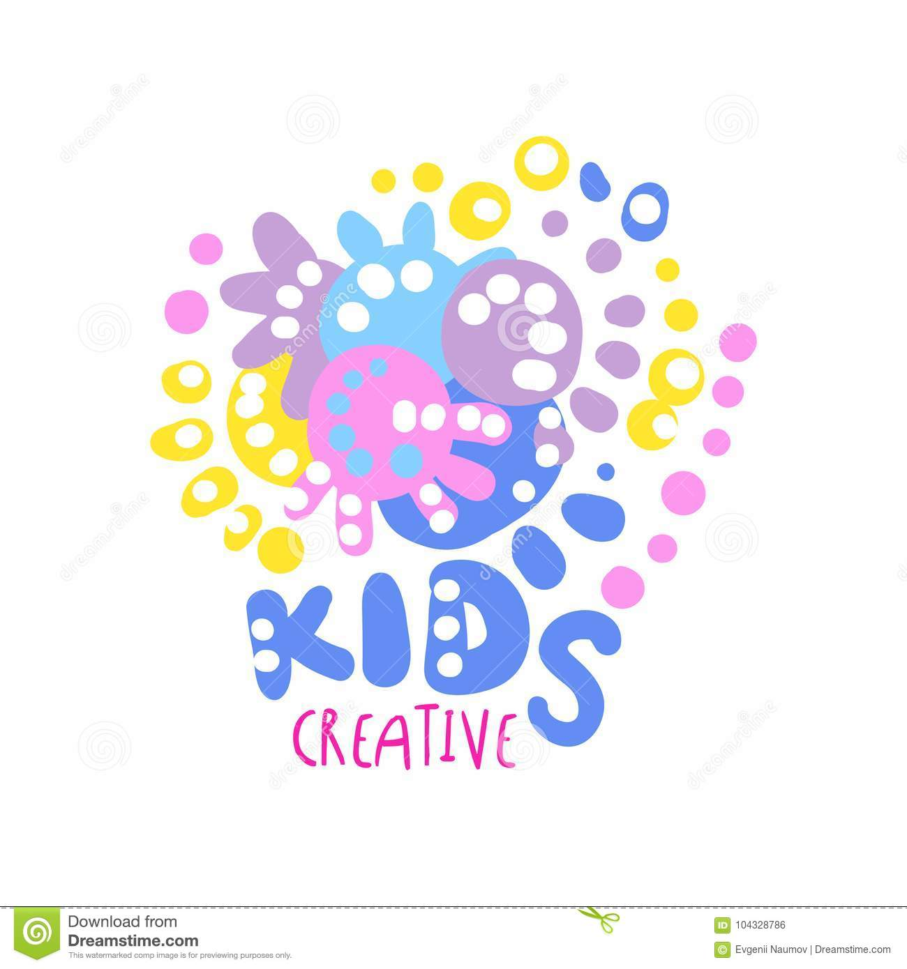 Kids Creative Logo Colorful Hand Drawn Labels For Kids Club