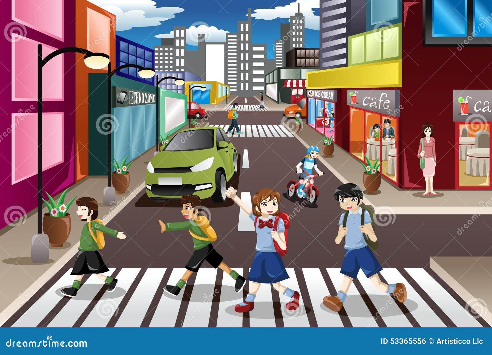 Kids Crossing The Street Stock Vector Illustration Of Childhood