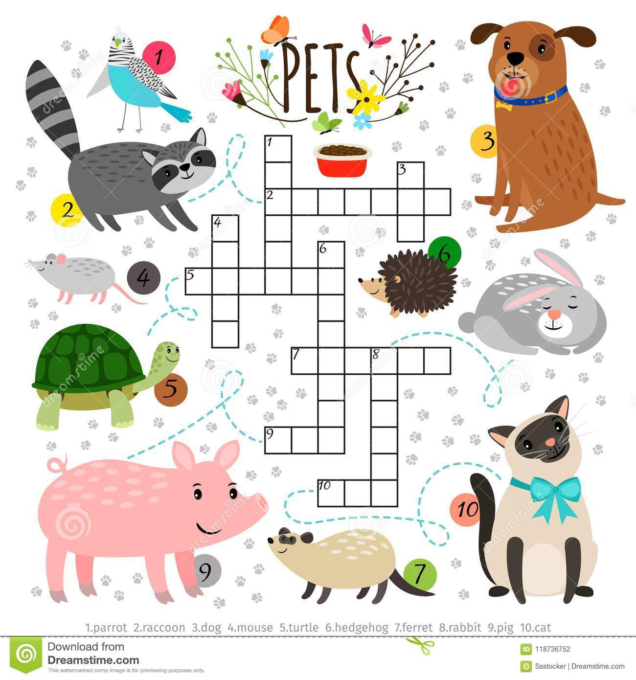 Kids Crosswords With Pets Children Crossing Word Search Puzzle
