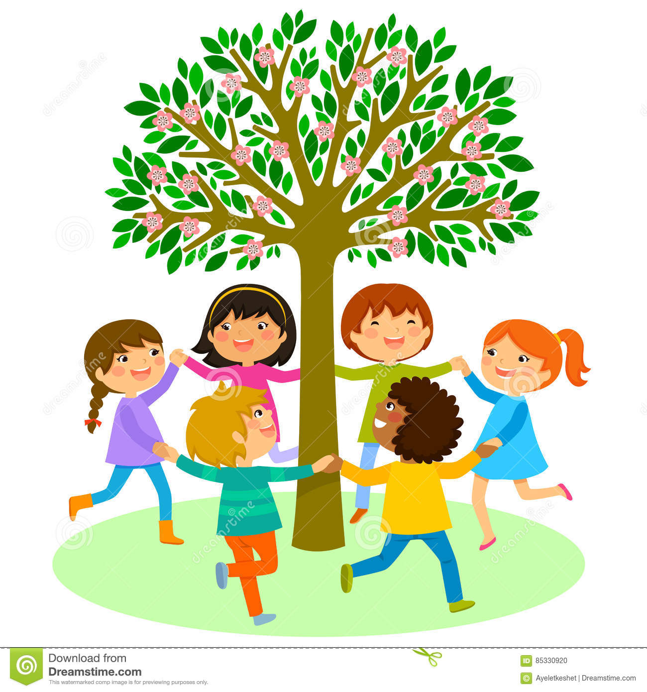 Kids dance around a tree stock vector illustration of for Around the tree