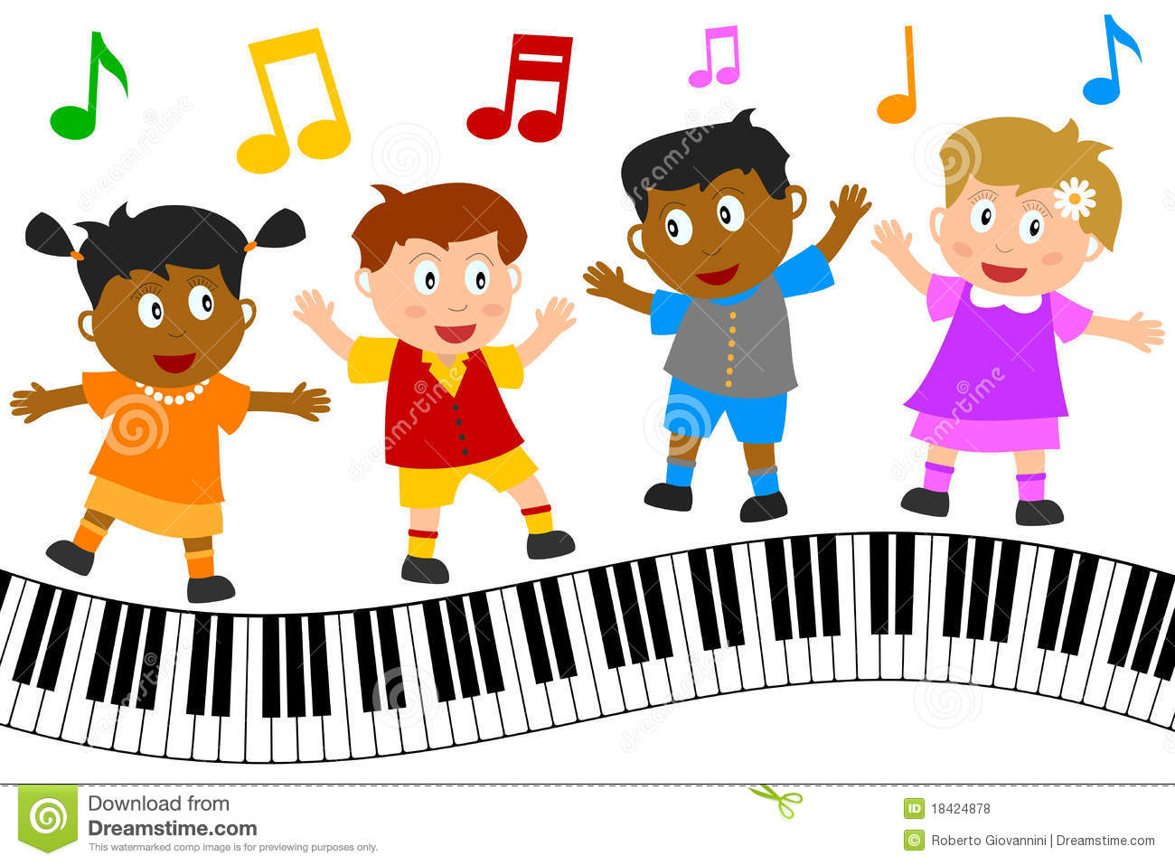 Kids Dancing On Piano Keyboard Stock Vector Illustration Of Funny Melodic 18424878