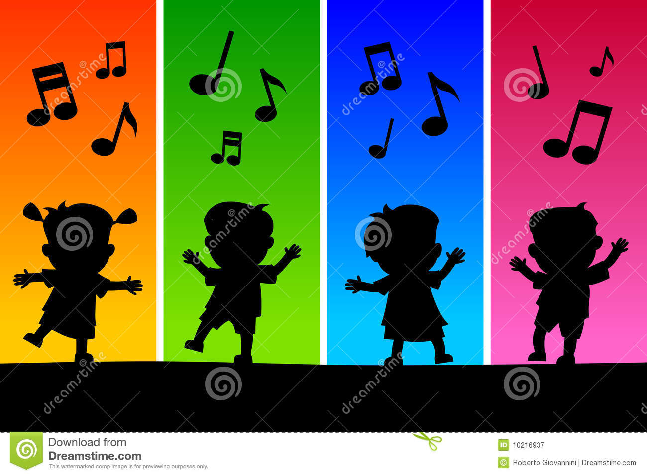 Kids Dancing Silhouettes Stock Vector Image Of Background