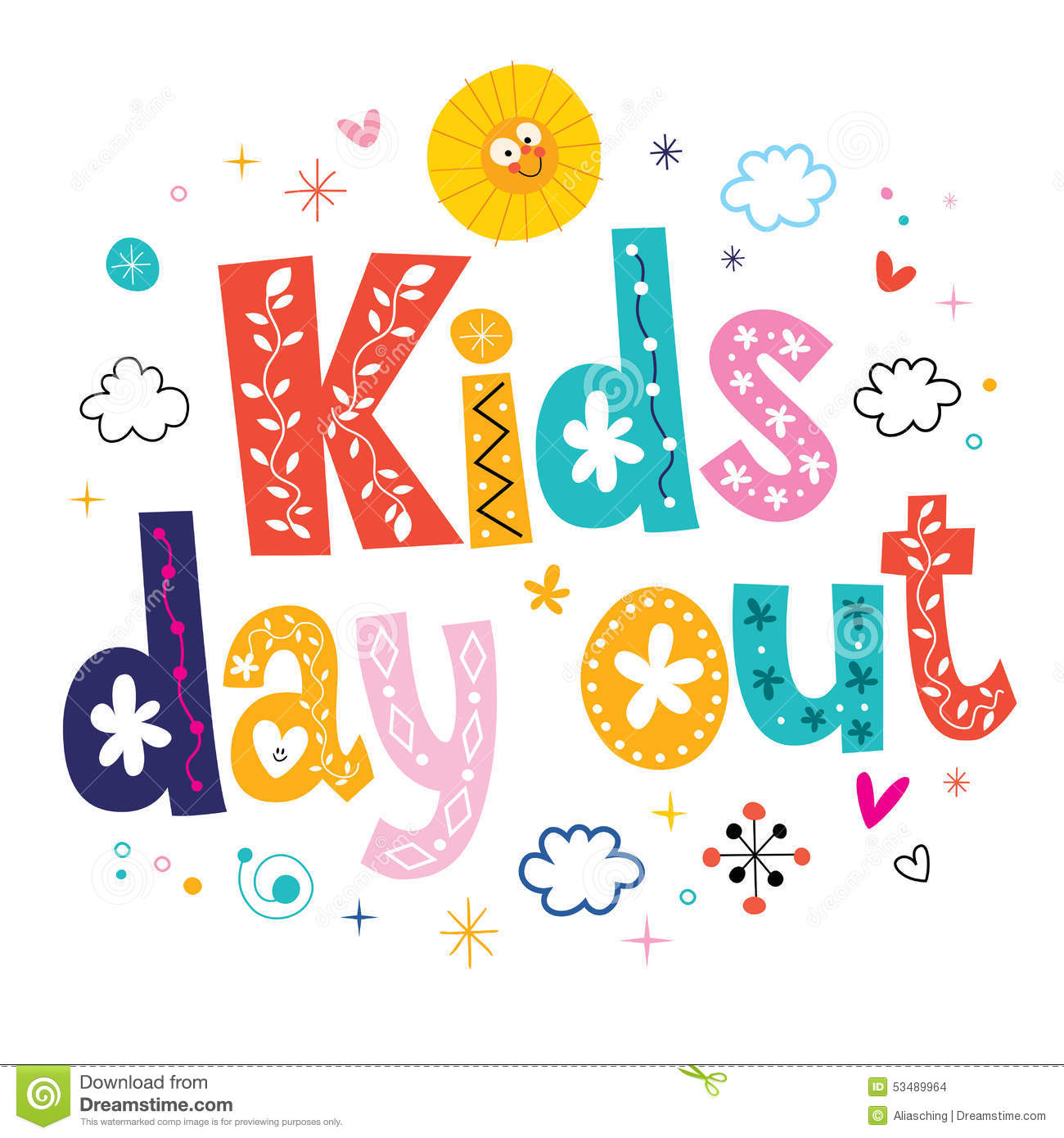 Kids day out stock vector. Illustration of pencil ...