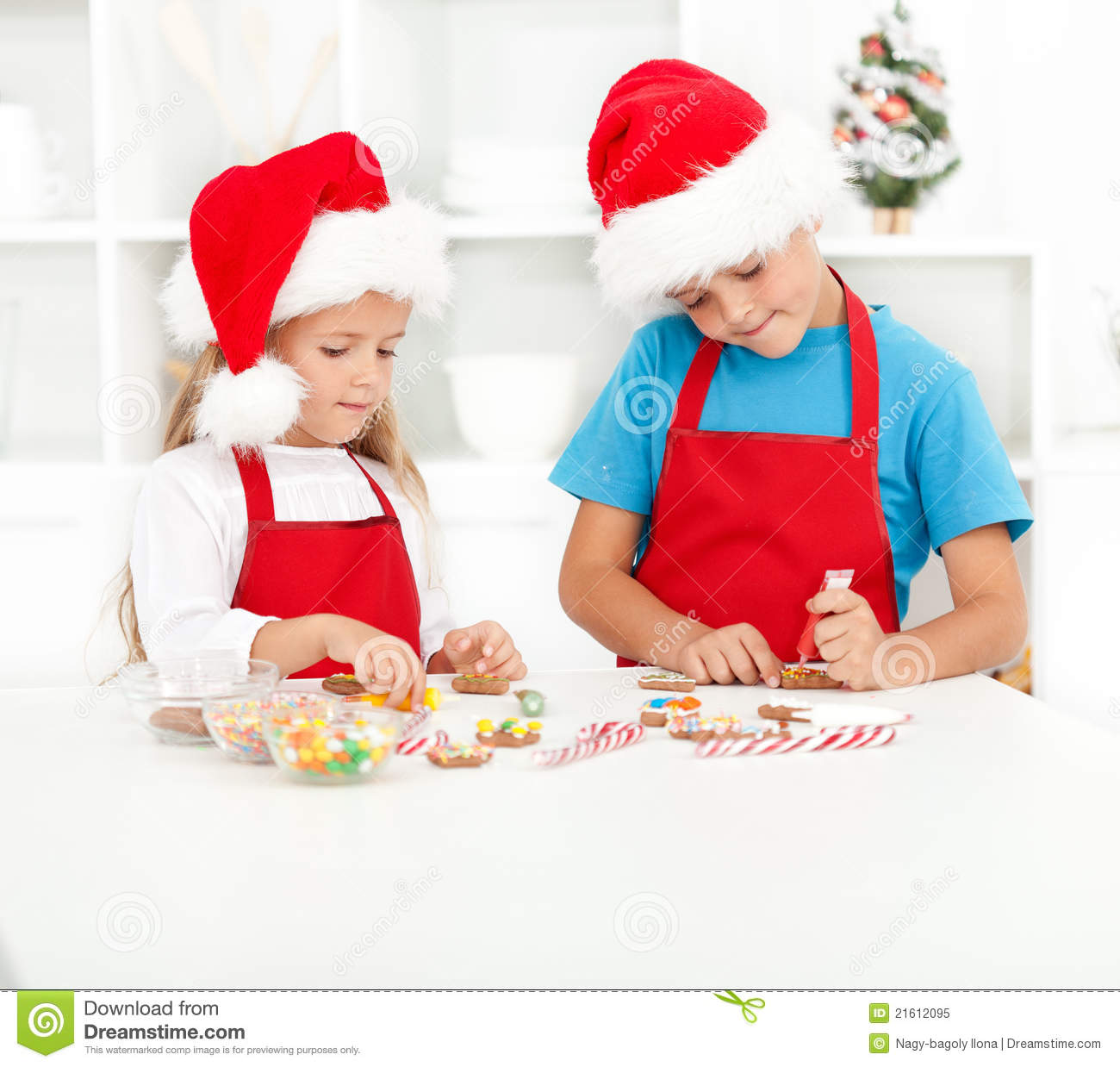 Kids Decorating For Christmas kids decorating christmas cookies royalty free stock photo - image