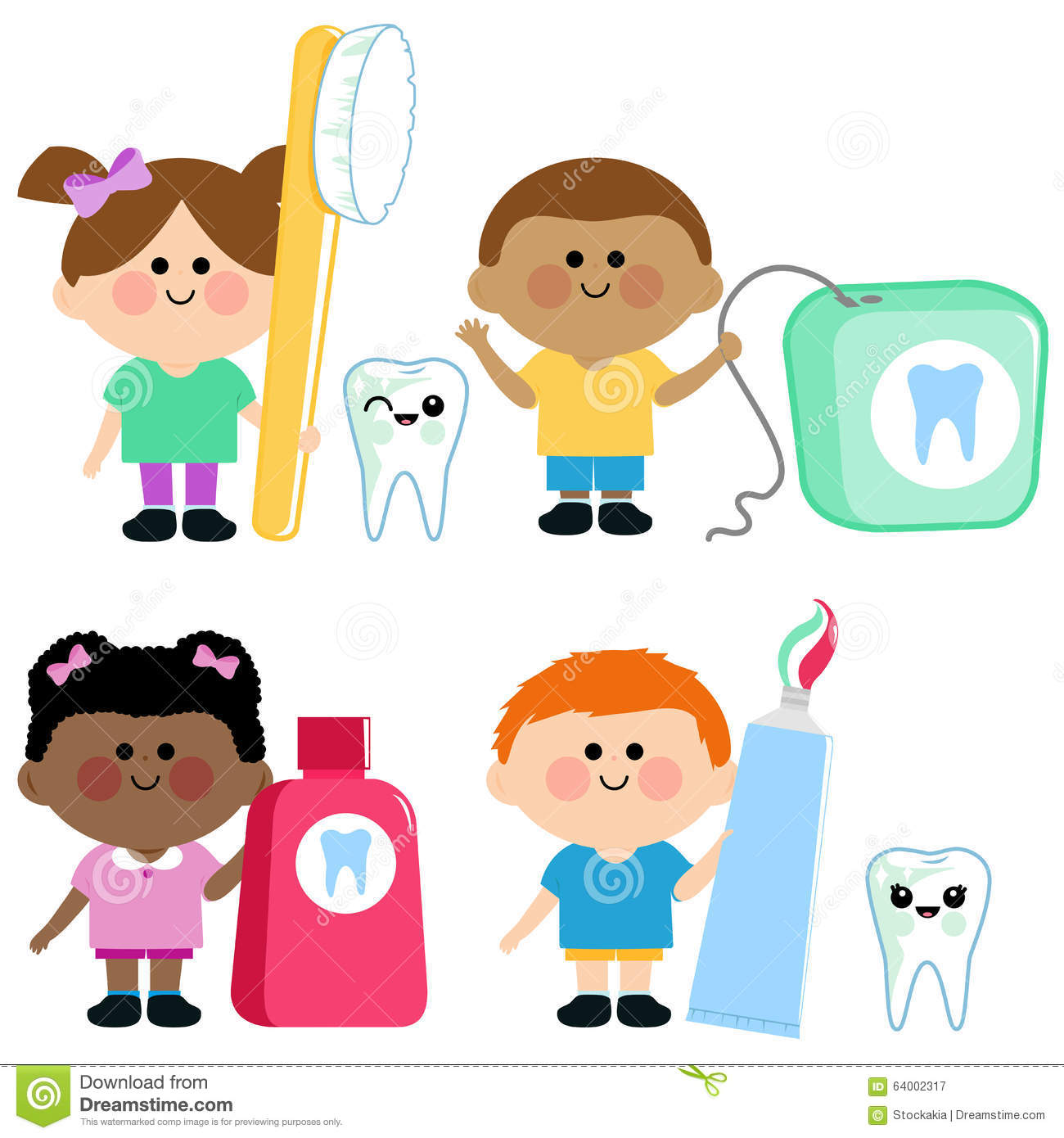 Kids Dental Hygiene Vector Set Stock Vector Illustration