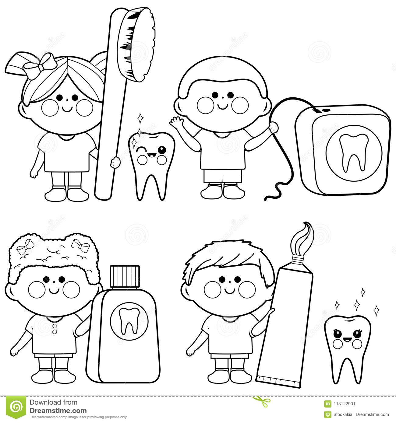 Kids Dental Vector Set. Coloring Book Page Stock Vector ... | 1390x1300