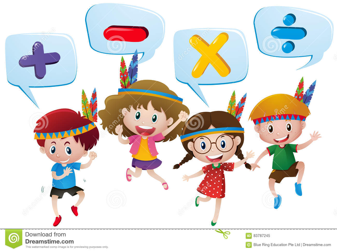 Kids And Different Math Signs Stock Vector - Illustration of ...
