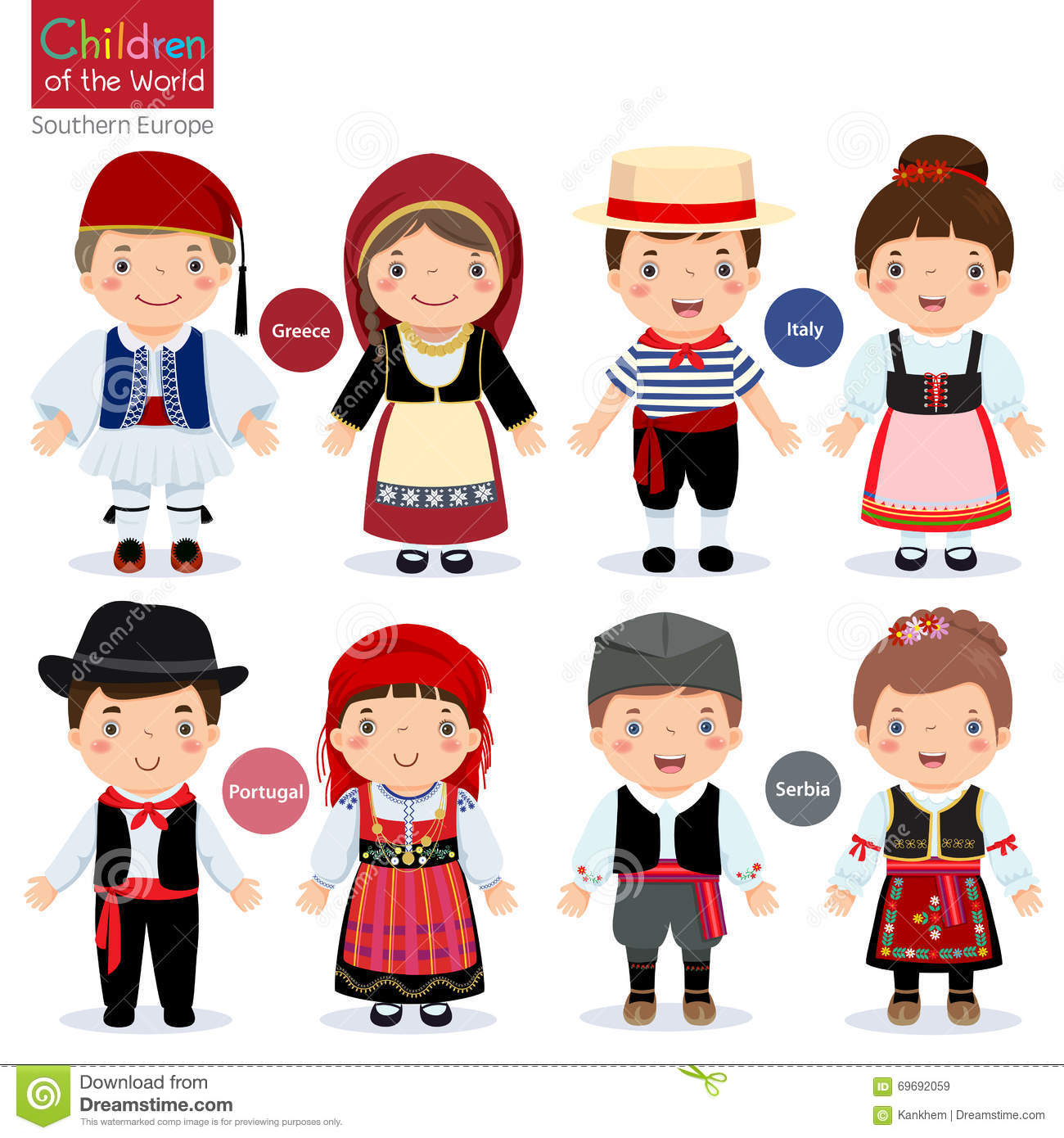 kids in different traditional costumes  greece  italy greek clip art free greek clip art borders