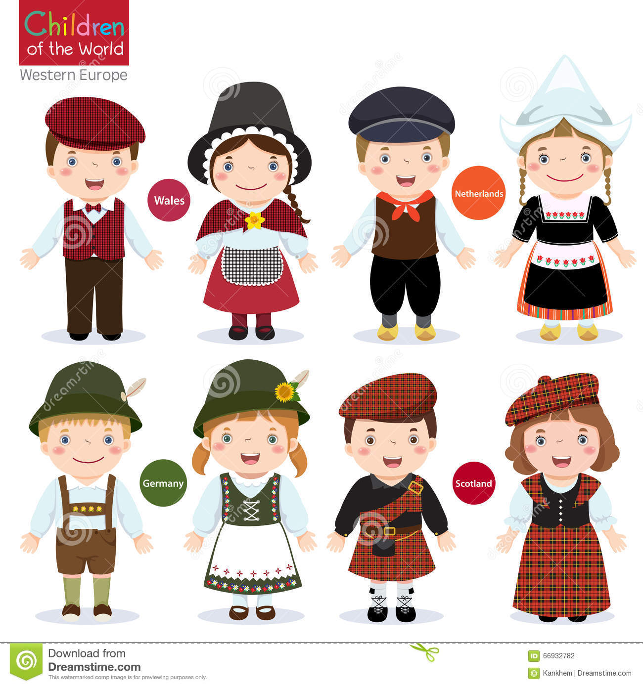 Holland Holland Clothing Collection >> Kids In Different Traditional Costumes Stock Vector ...