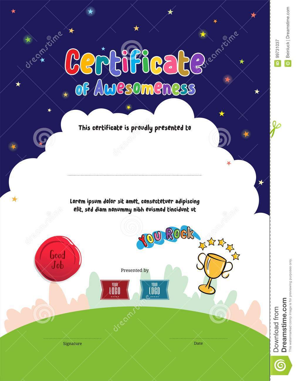 Kids Diploma Or Certificate Of Awesomeness Template With Cartoon Stock Vector Illustration Of Coupon Blank 99731037