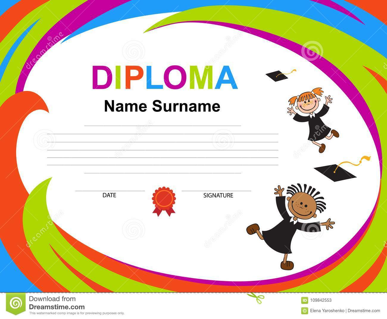Download Kids Diploma Certificate Background Design Template Stock Vector