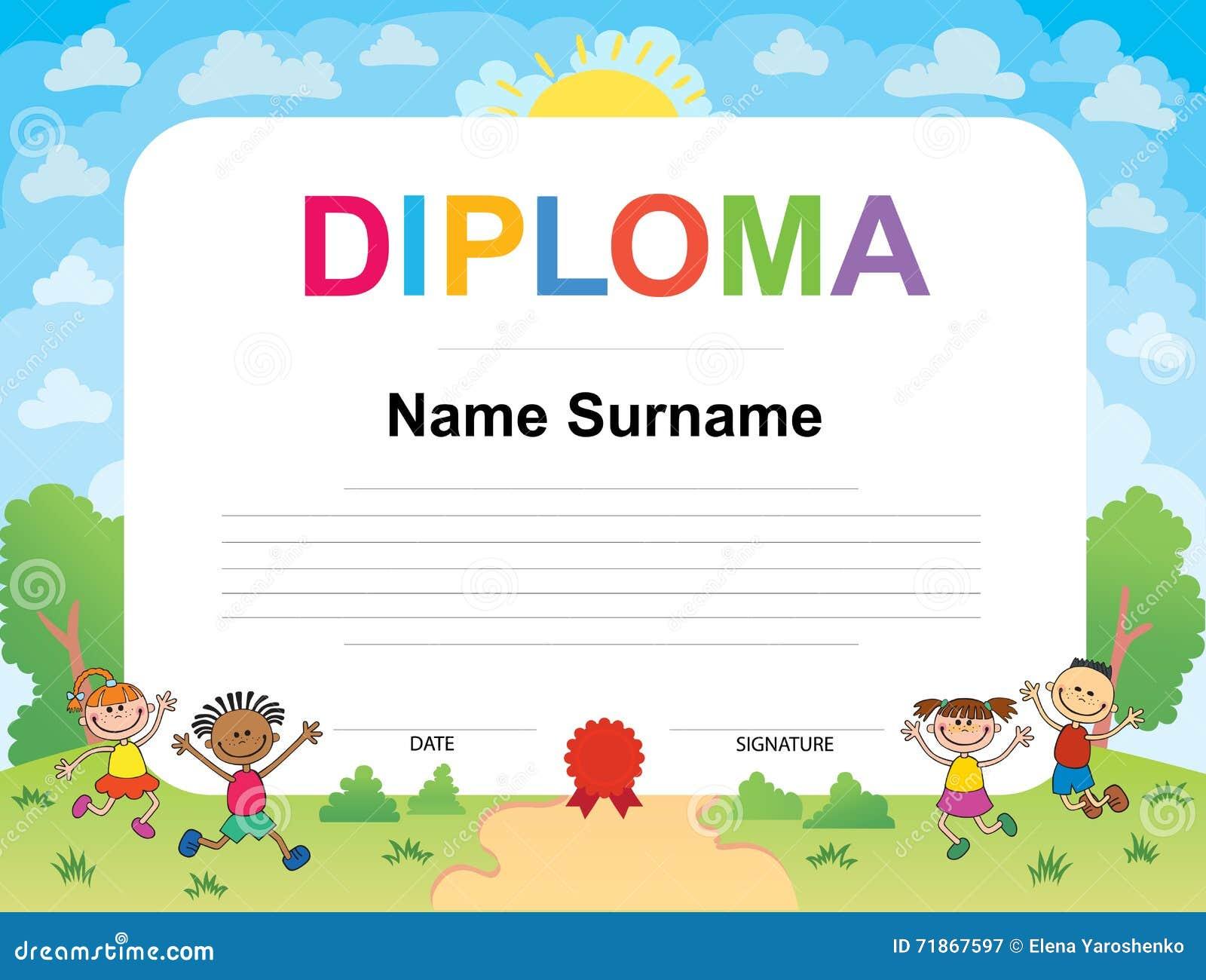 Kids Diploma Certificate Background Design Template Stock
