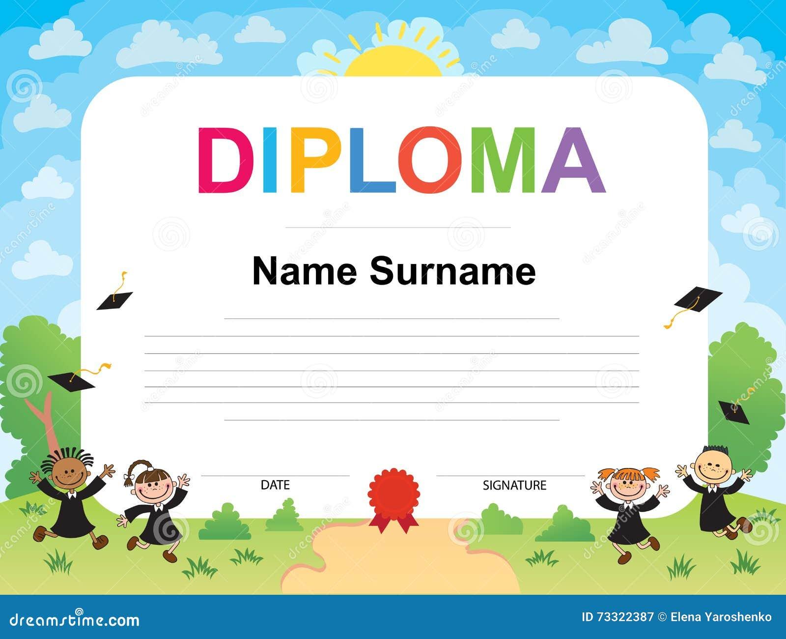 kids diploma certificate background design template stock vector