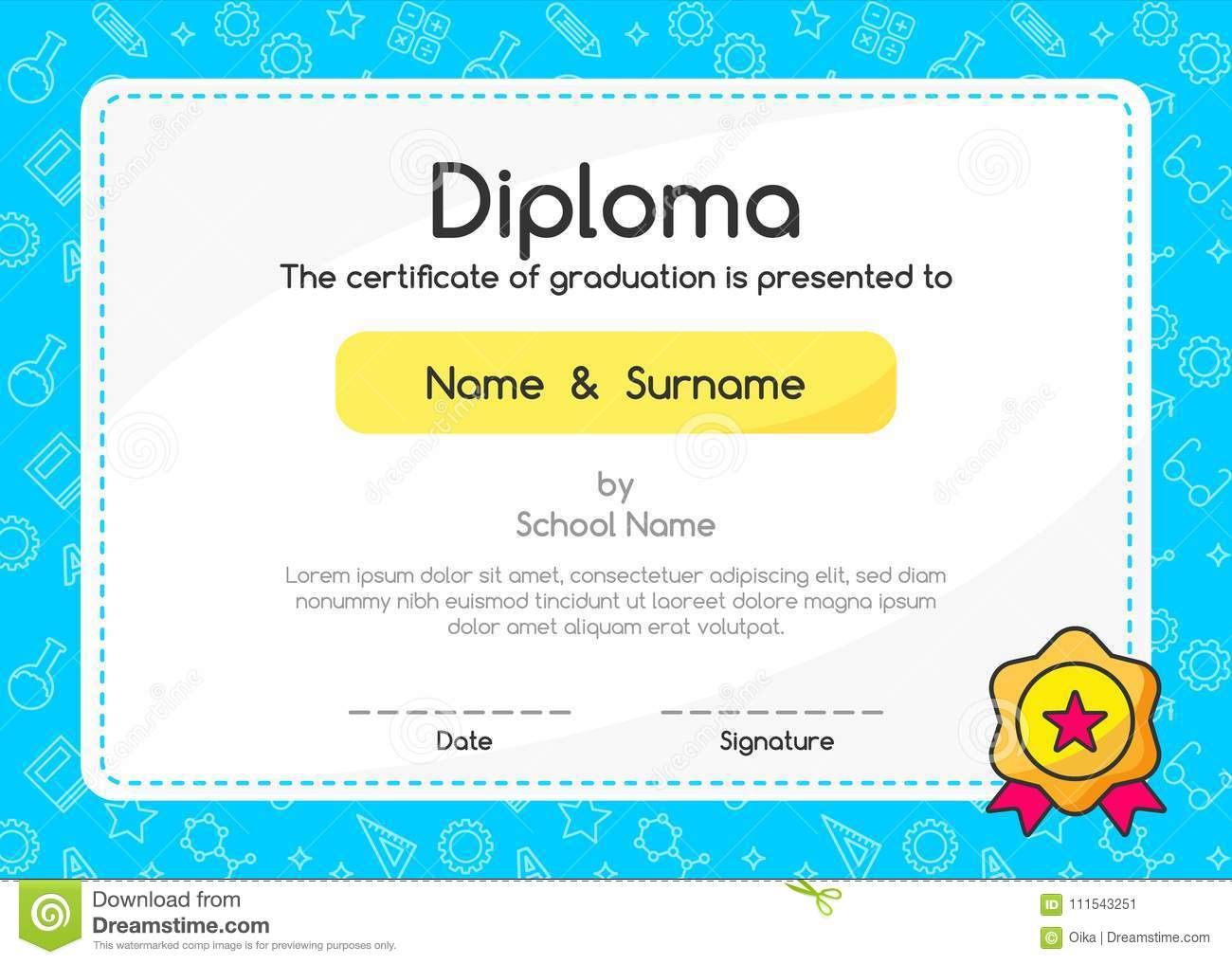 Kids Diploma Certificate In Cute Style Background Template Layout Design