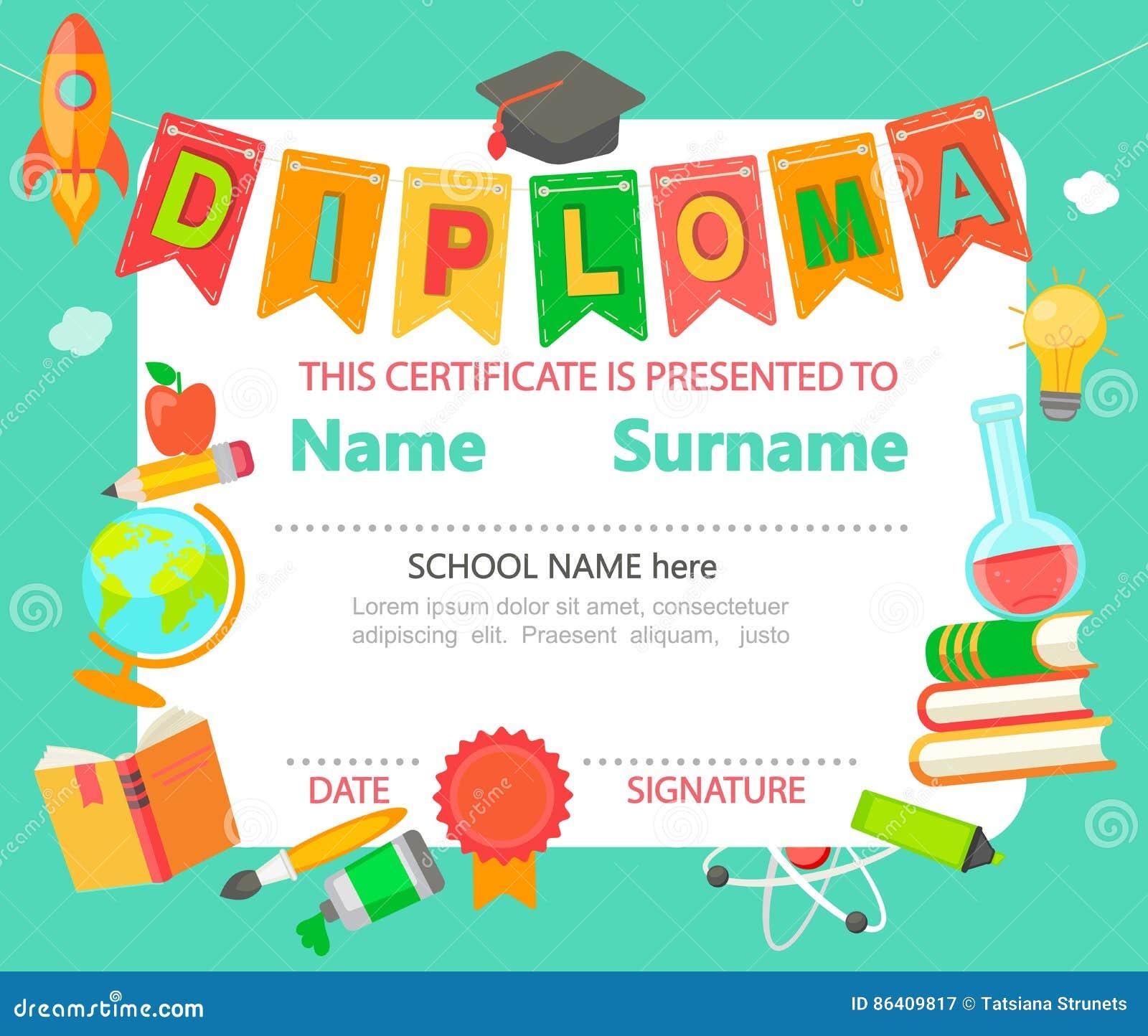 Kids diploma certificate stock vector illustration of frame 86409817 kids diploma certificate yelopaper Images