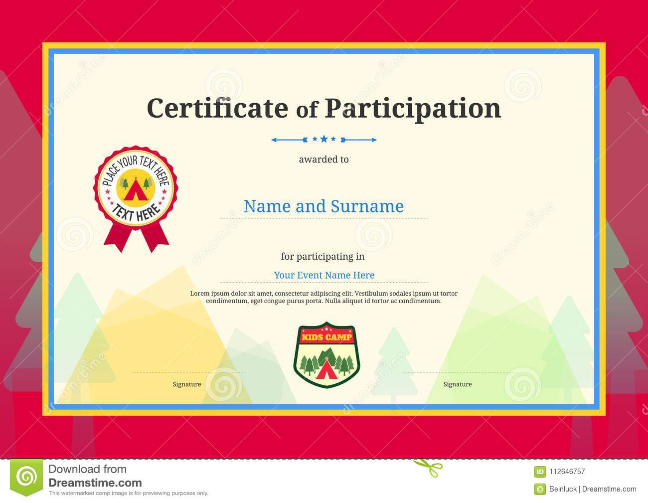 kids diploma or certificate of participation template with