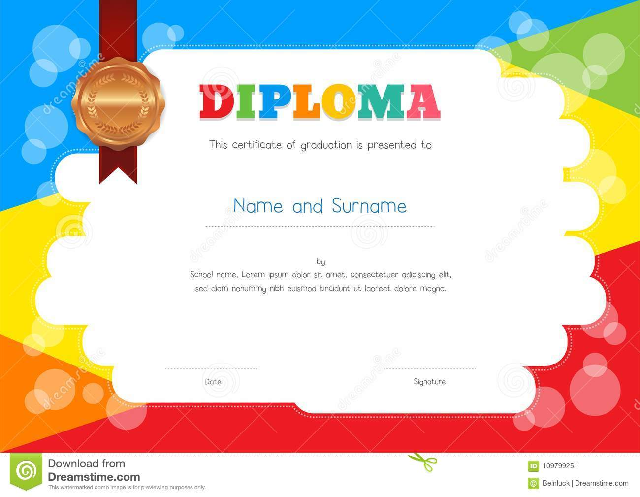 Kids Diploma or Certificate Template with Colorful Background For Free Printable Certificate Templates For Kids