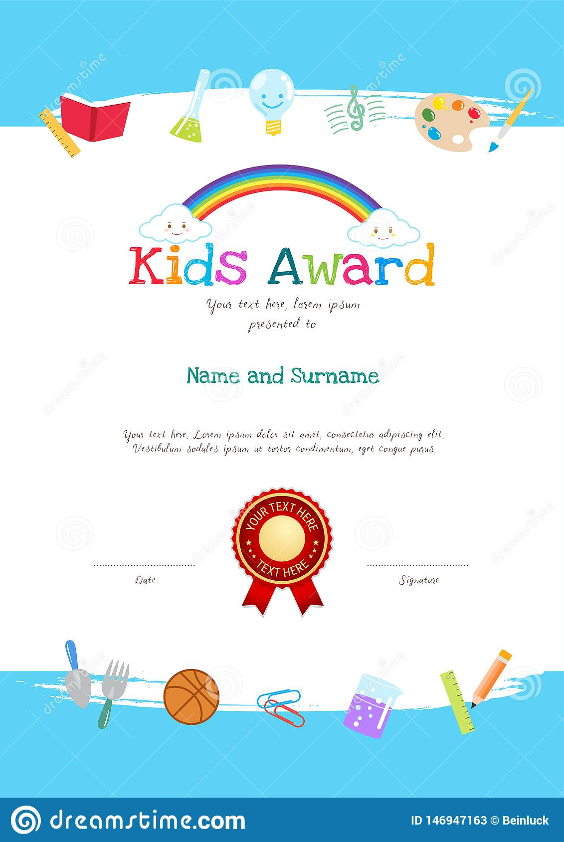 Kids Diploma or Certificate Template with Colorful Background for With Free Printable Certificate Templates For Kids