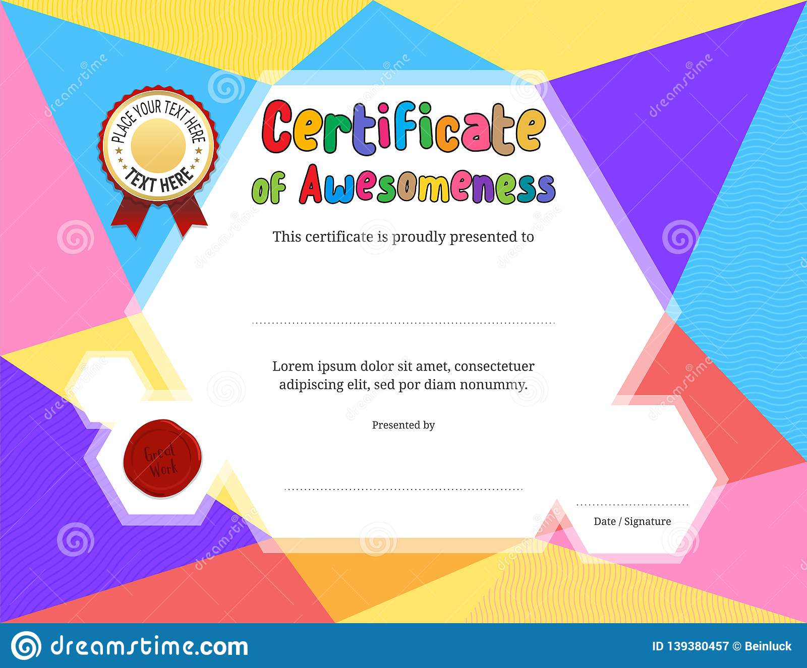 Kids Diploma Or Certificate Template With Colorful Background Throughout Free Kids Certificate Templates