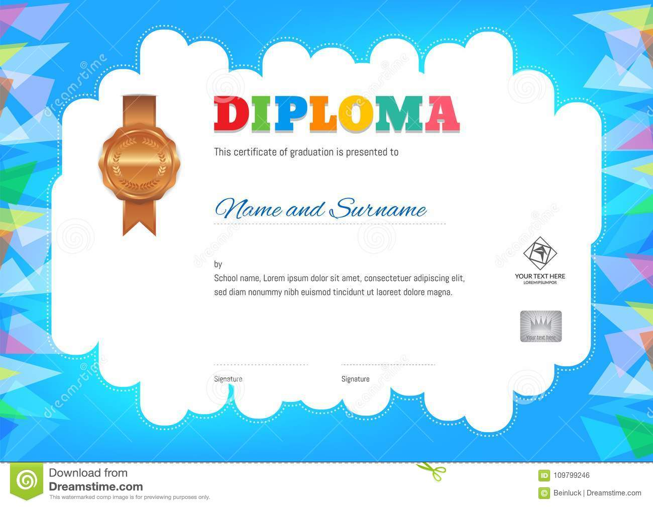 Kids Diploma Or Certificate Template With Colorful Background Stock ...