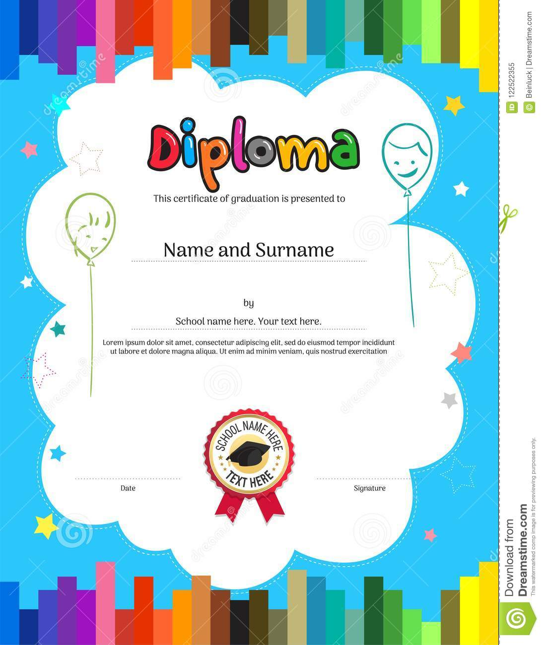 Kids Diploma Or Certificate Template With Colorful Stripe Backgr