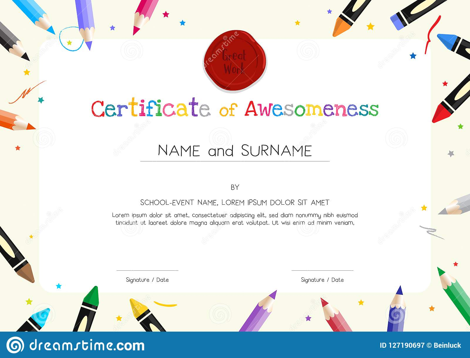 kids diploma or certificate template with painting stuff