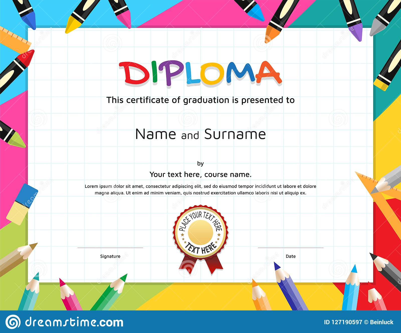 Kids Diploma Or Certificate Template With Painting Stuff Border Intended For Free School Certificate Templates