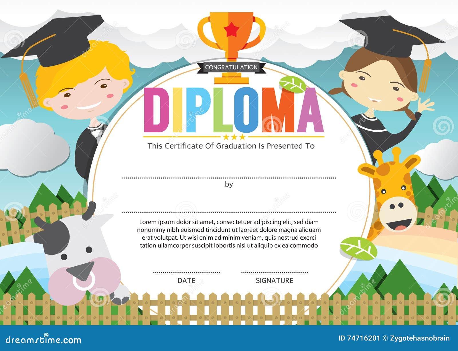 Kids Diploma Certificate Template Stock Vector Illustration Of