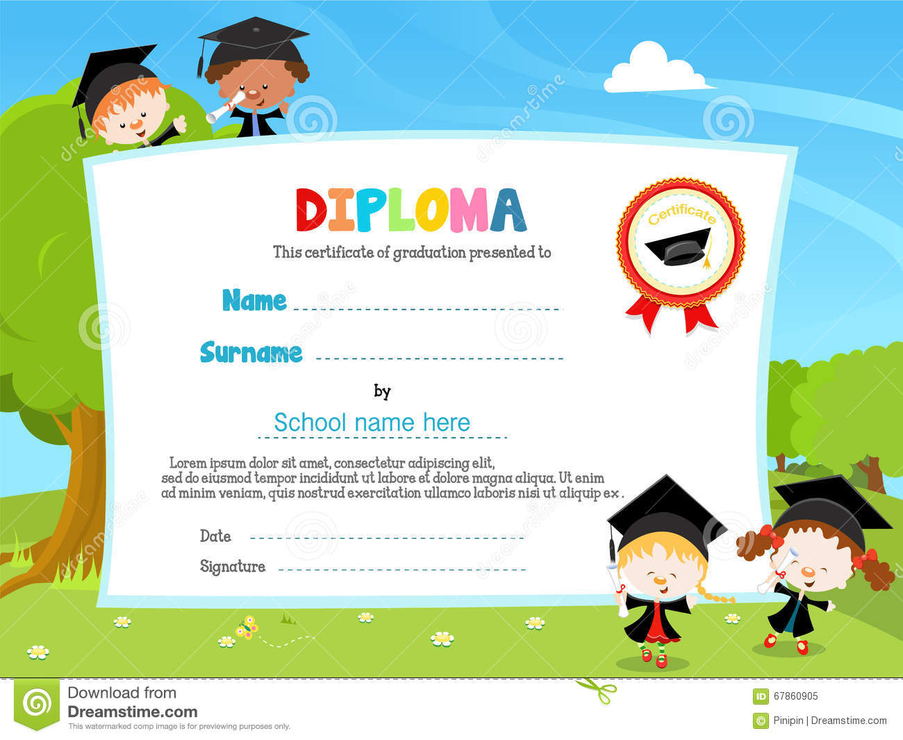 kids with diploma stock vector illustration of cute