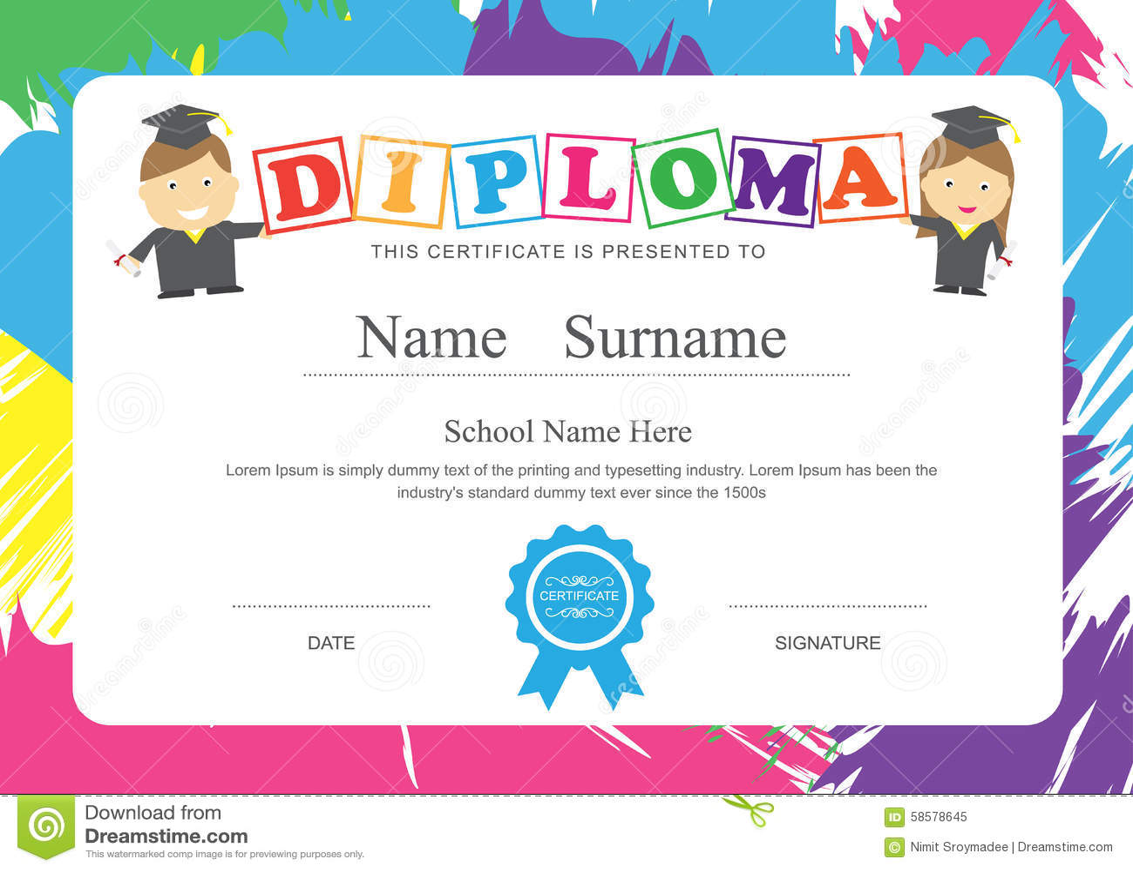 Kids diploma preschool certificate elementary school design temp