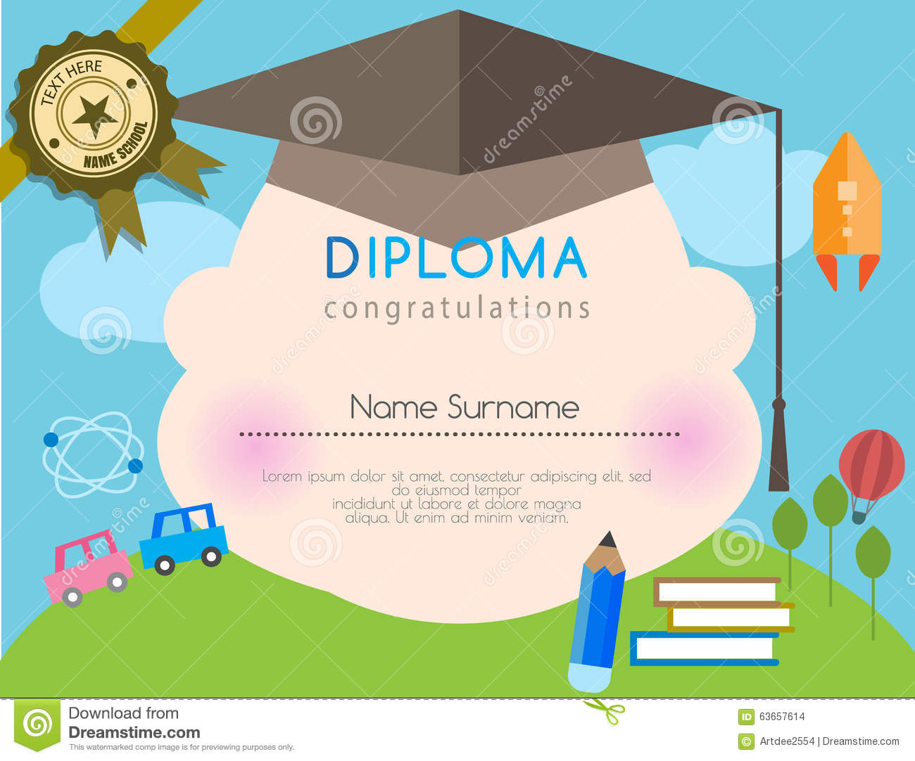 preschool elementary school kids diploma certificate background vector illustration cartoondealercom 55021418
