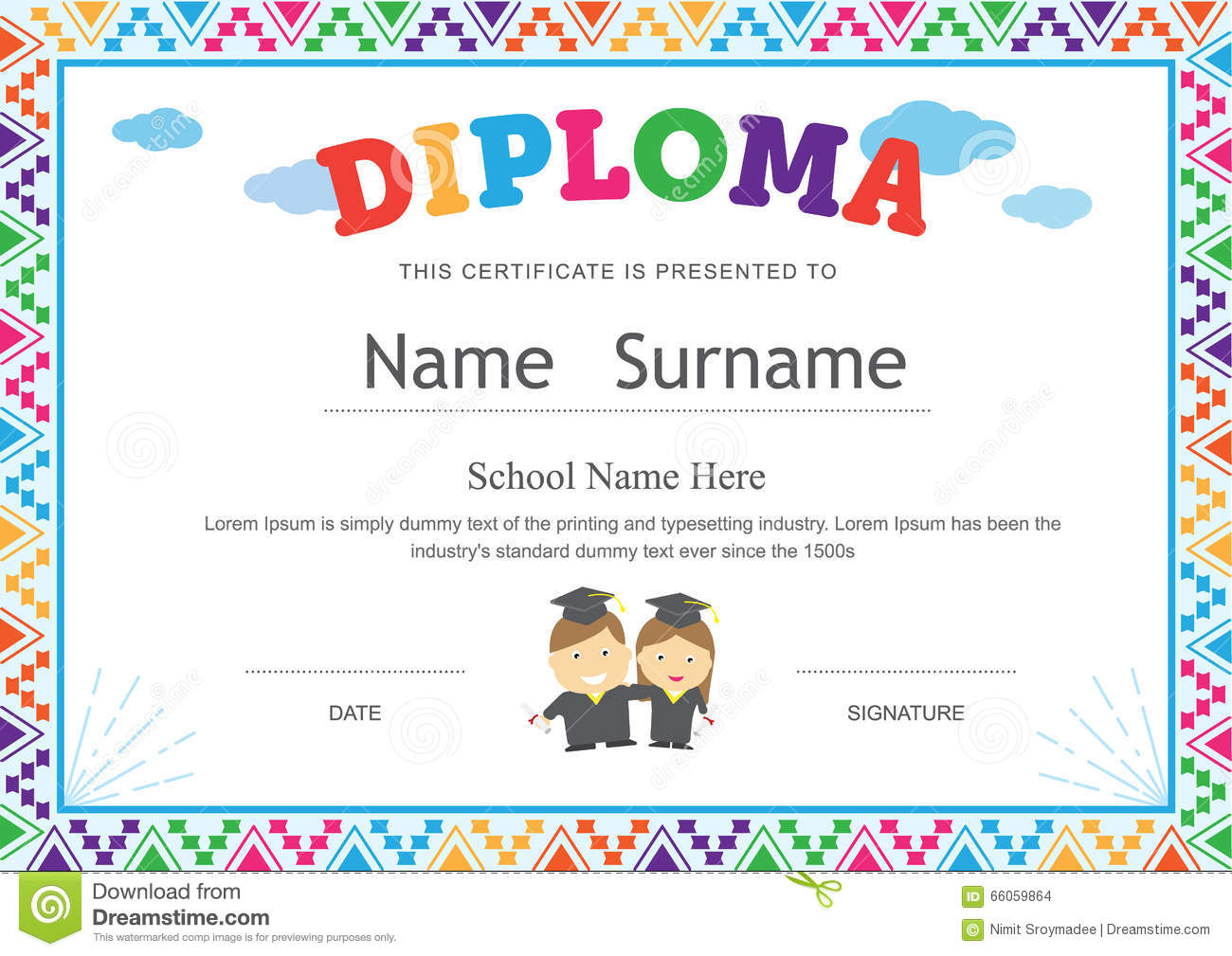 child certificate template - Preschool Certificate Template