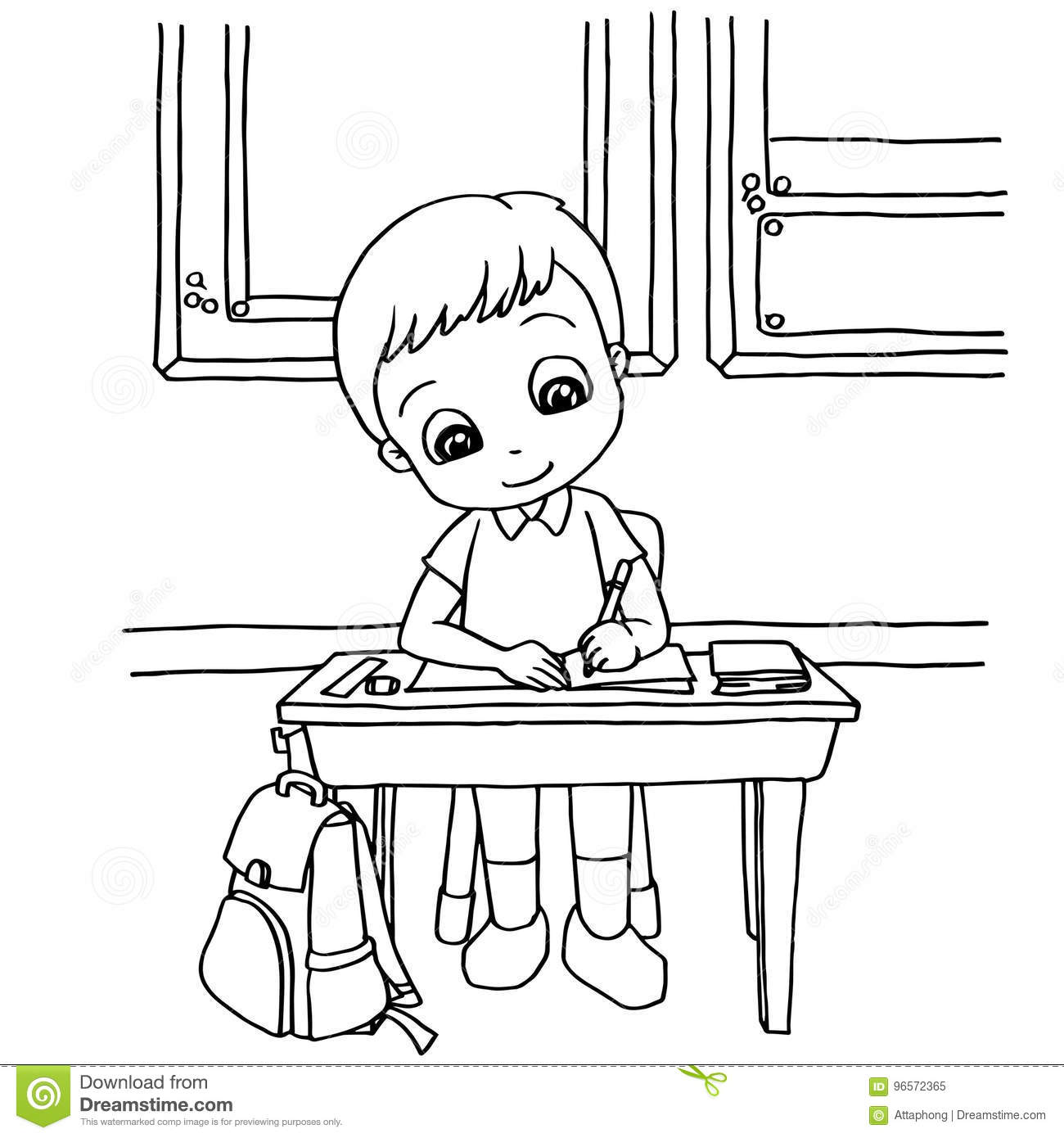 Download Kids Do Homework In Class Cartoon Coloring Page Vector Stock