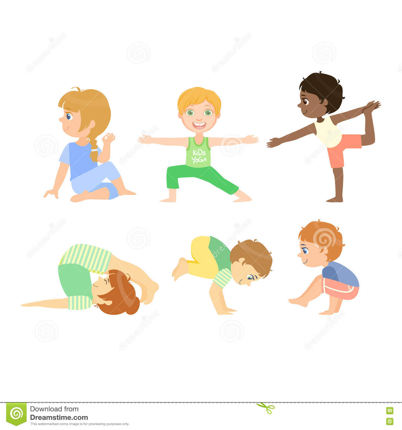 Kids Doing Advanced Yoga Poses Stock Vector Illustration Of Children Exercise 72200452