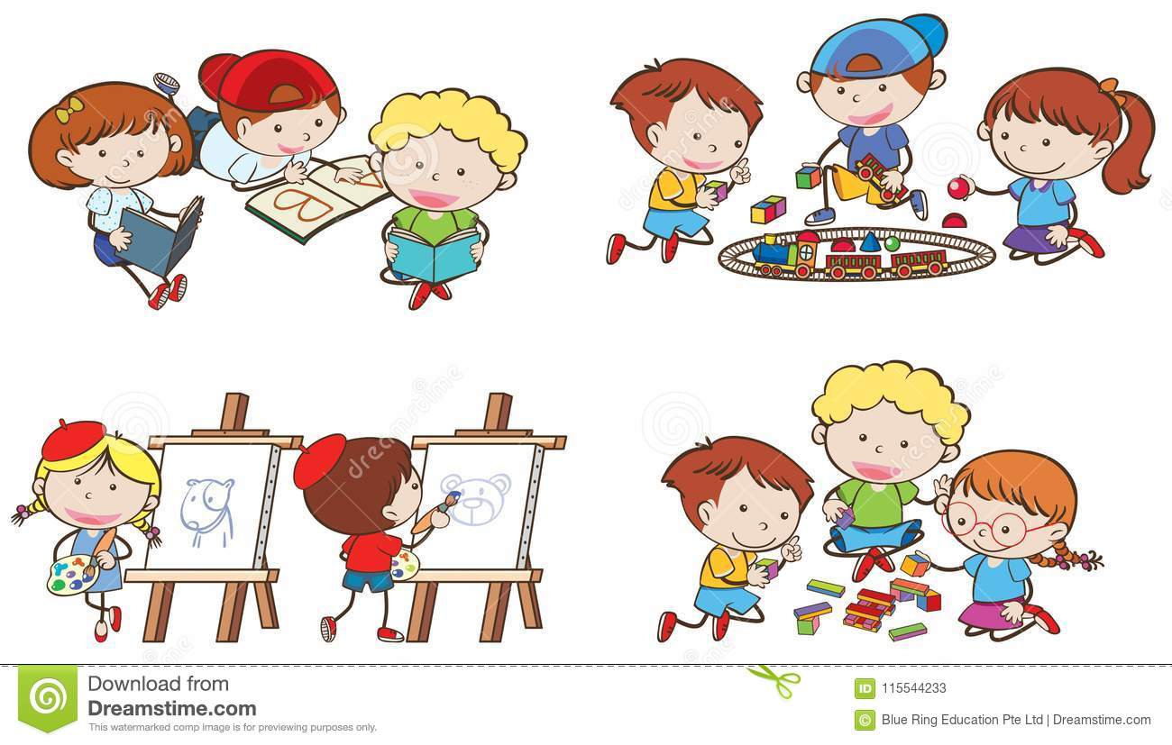 Kids Are Doing Different Activities Stock Vector Illustration Of