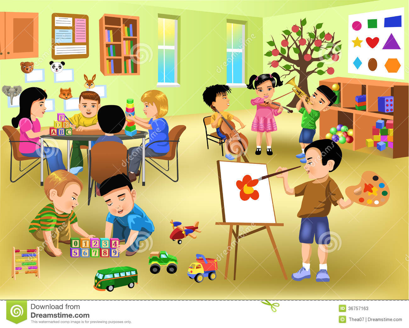 Kids Doing Different Activities In Kindergarten Stock Vector