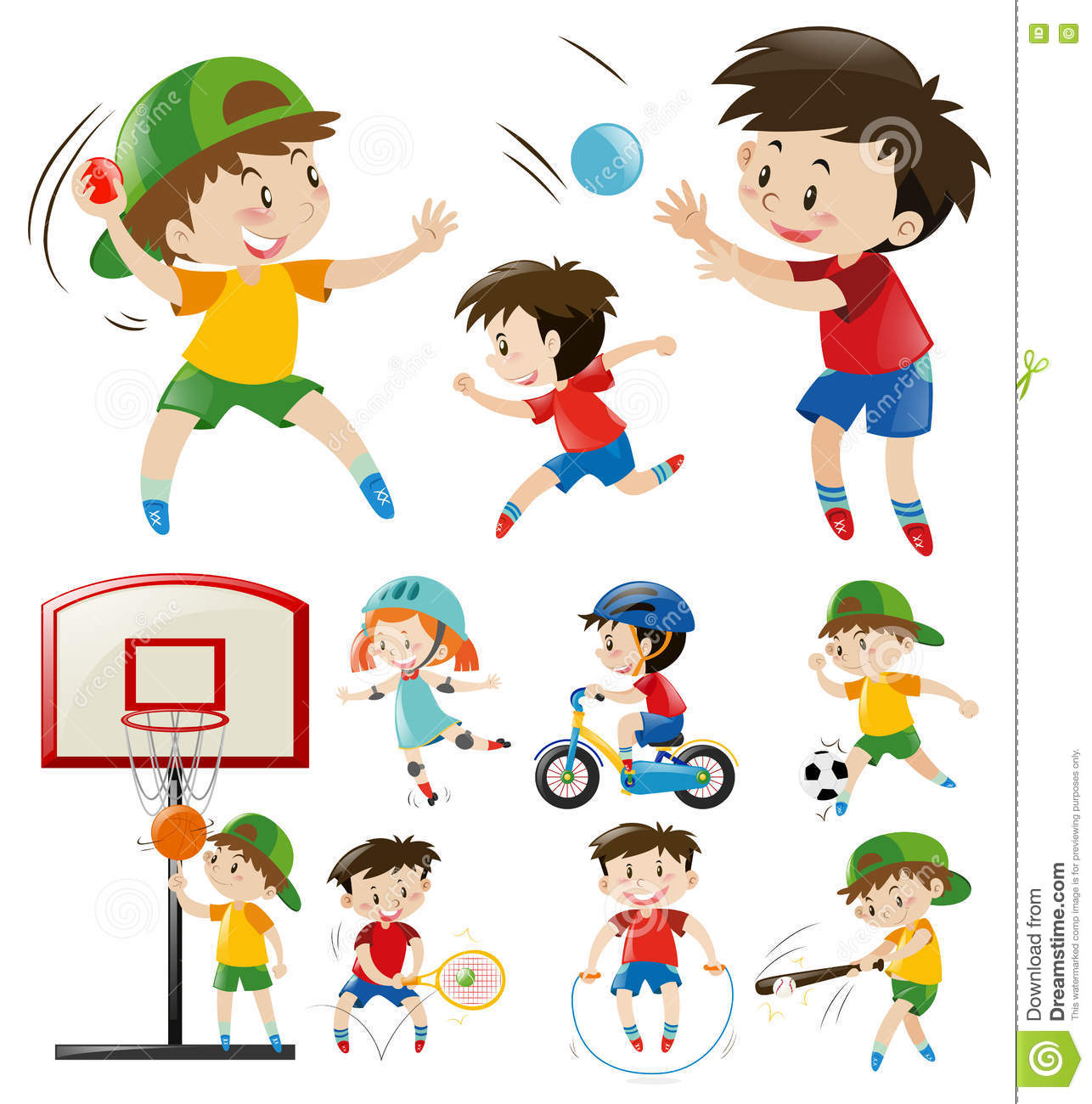 Kids Doing Different Types Of Sports Stock Vector ...