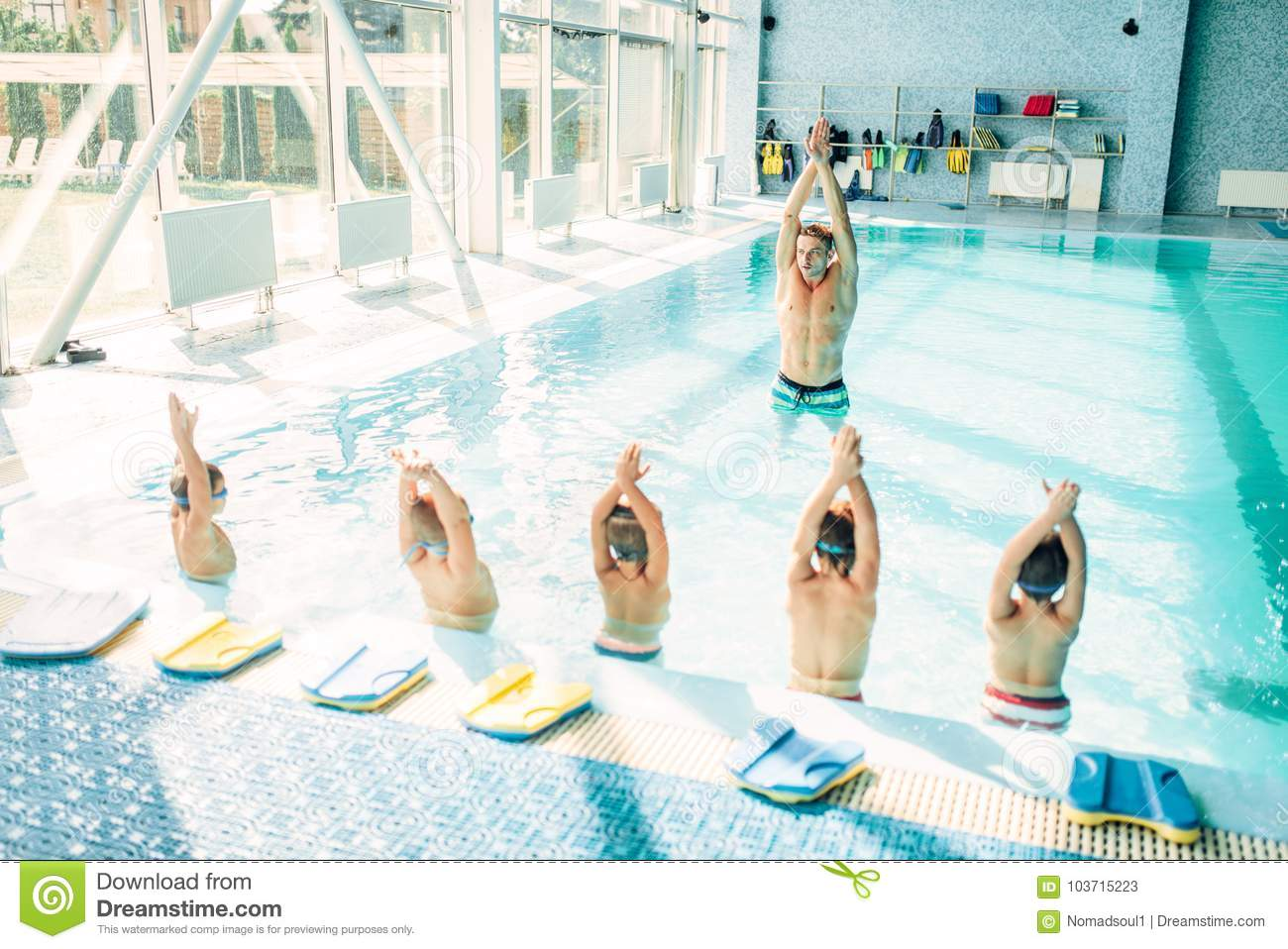 Kids Doing Exercise In Swimming Pool Stock Image - Image of ...